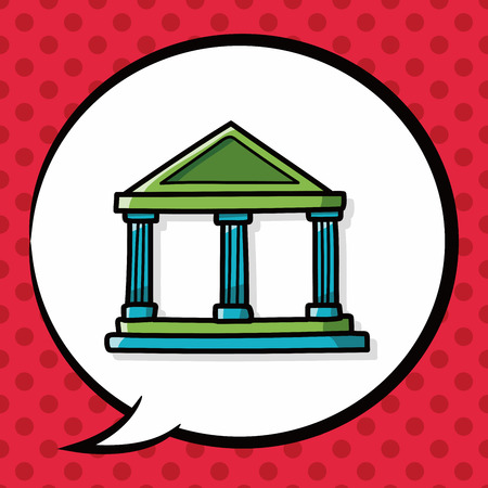 courthouse: bank doodle, speech bubble