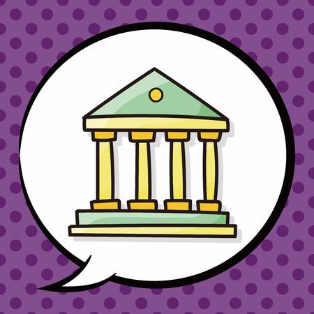 derecho romano: doodle de banco, burbuja del discurso Vectores