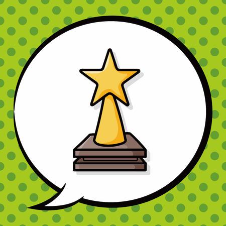 sport cartoon: Trophy doodle, speech bubble