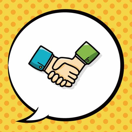teamwork cartoon: shake hands doodle, speech bubble