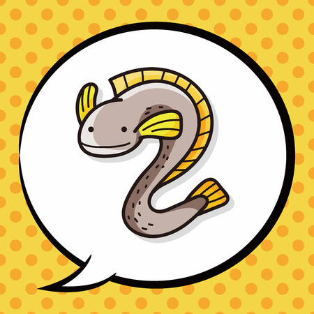 eel: sea animal Eel doodle, speech bubble