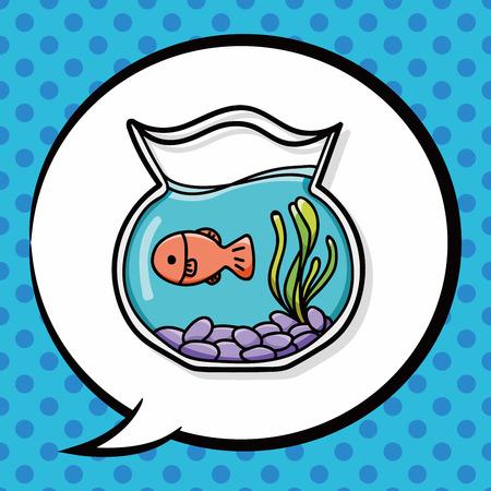 lowbrow: fish bowl doodle, speech bubble Illustration