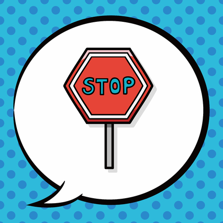 road closed: stop sign safety barriers doodle, speech bubble