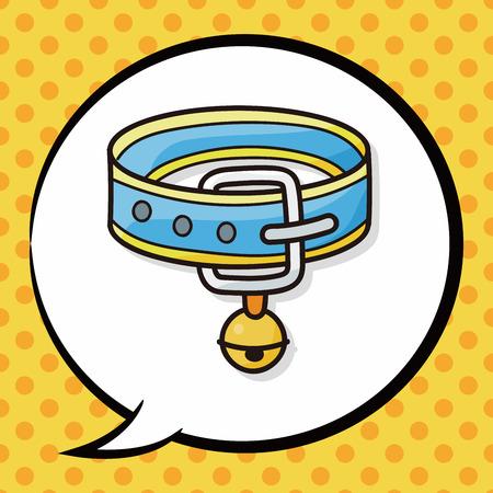 collar: Pet collar doodle, speech bubble Illustration