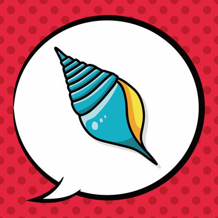 sea animal: sea animal shell doodle, speech bubble