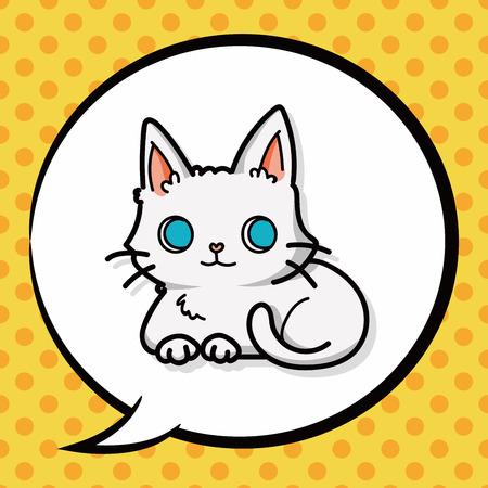 cute kitten: cat doodle, speech bubble