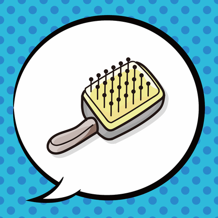 dog grooming: pet brush doodle, speech bubble