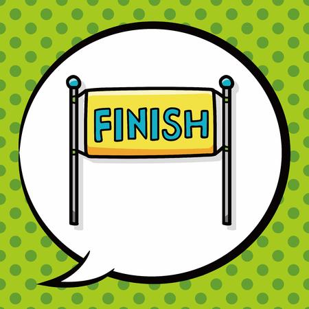 checker flag: finish line doodle, speech bubble