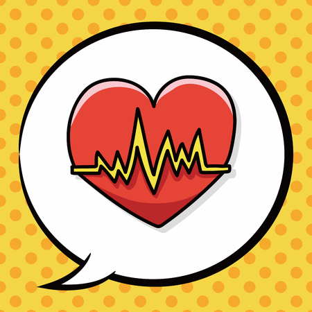 ecg: ECG doodle, speech bubble Illustration