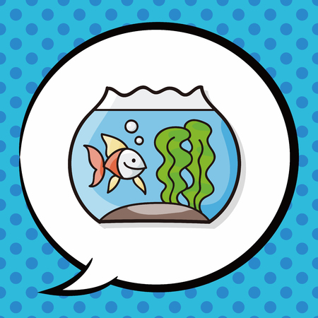 lowbrow: fish bowl doodle, speech bubble Illustration