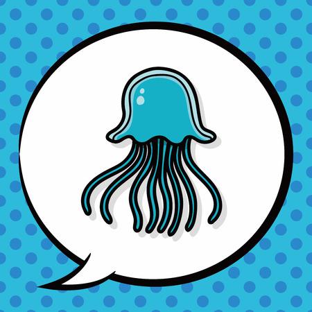 sea animal: sea animal jellyfish doodle, speech bubble