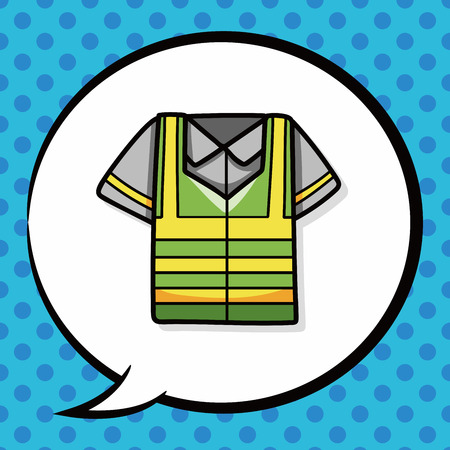 reflective: Reflective vests doodle, speech bubble Illustration