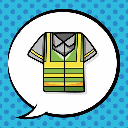 reflective: Reflective vests doodle, speech bubble Illustration