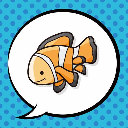 sea animal: sea animal fish doodle, speech bubble Illustration