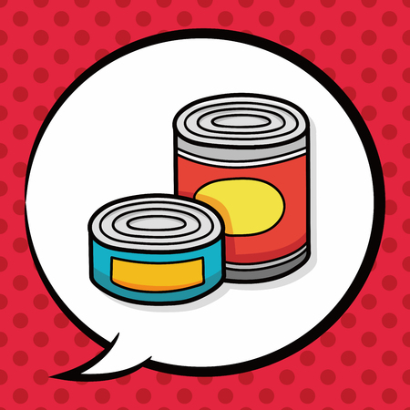 canned food: Canned food doodle, speech bubble Illustration