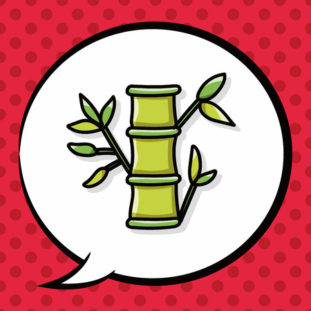 lucky bamboo: Chinese New Year decorative bamboo doodle, speech bubble Illustration