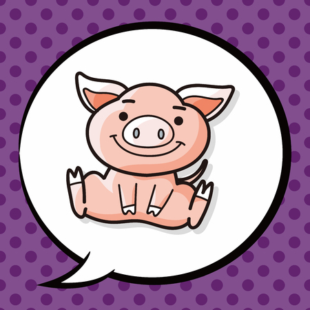 chinese pig: Chinese pig doodle, speech bubble