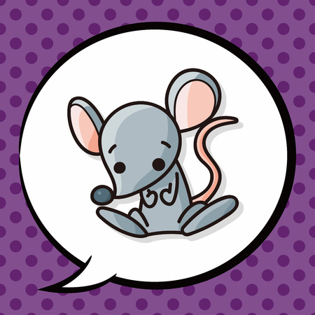 year of rat: Chinese rat doodle, speech bubble Illustration