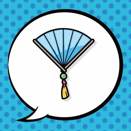 open fan: Chinese New Year Folding fan doodle, speech bubble