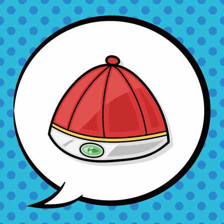 chinese hat: Chinese hat doodle, speech bubble Illustration