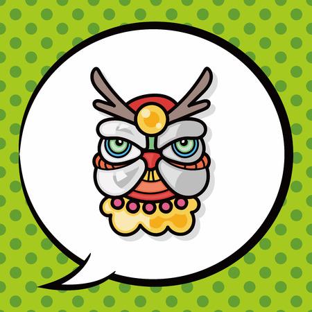chinese new year dragon: Chinese new year dragon and lion dancing head doodle, speech bubble