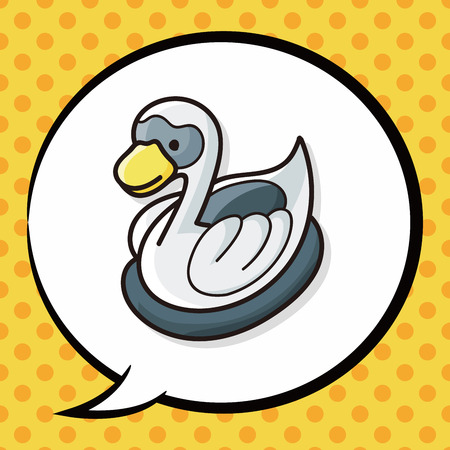 swan: swan doodle, speech bubble Illustration