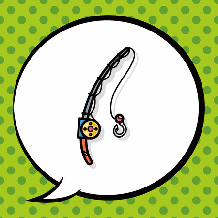 hand line fishing: Fishing rod doodle, speech bubble