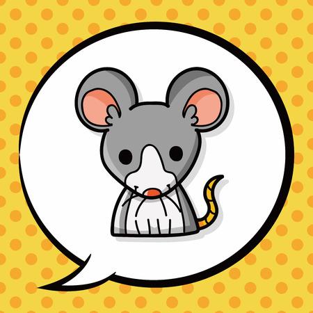 rata caricatura: doodle de la rata china, burbuja del discurso Vectores