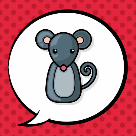 rata caricatura: Chinese rat doodle, speech bubble Vectores