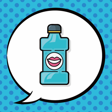 enjuague bucal: Doodle de enjuague bucal, burbuja del discurso