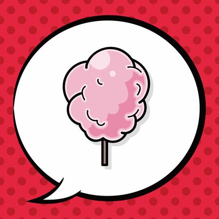 cotton candy: Cotton candy doodle, speech bubble