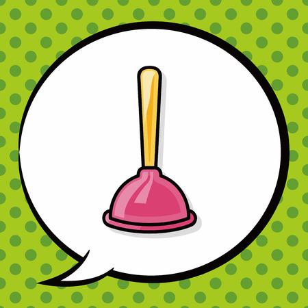 plunger: plunger doodle, speech bubble Illustration