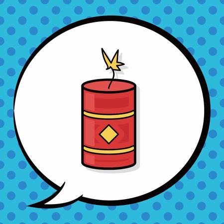 firecrackers: Chinese firecrackers doodle, speech bubble
