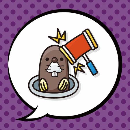 Whack-a-Mole krabbel, tekstballon Stockfoto - 48216702