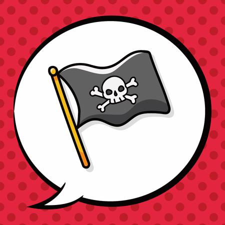 pirate flag: pirate flag doodle, speech bubble Illustration