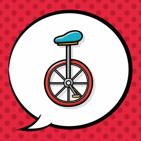 unicycle: Unicycle doodle, speech bubble