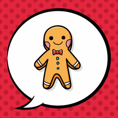 christmas cookie: gingerbread man doodle, speech bubble Illustration