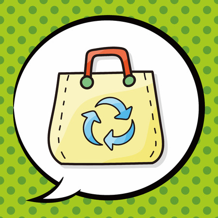 recycled: Recycled shopping bag doodle, speech bubble Illustration