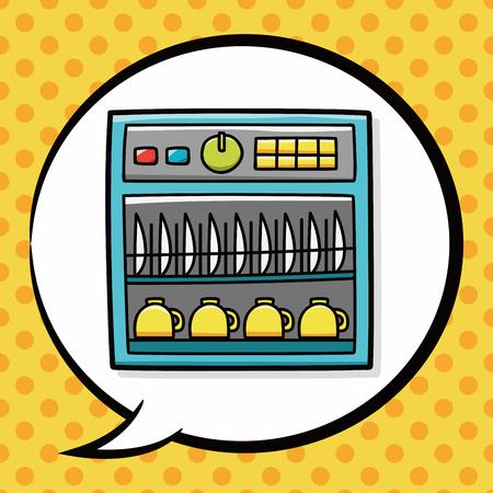 dishwasher: Dishwasher doodle, speech bubble Illustration