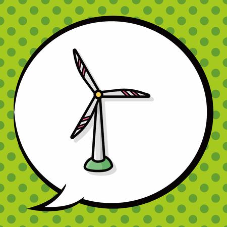 wind energy: wind energy doodle, speech bubble Illustration