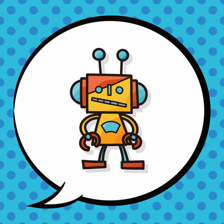 talking robot: robot doodle, speech bubble Illustration