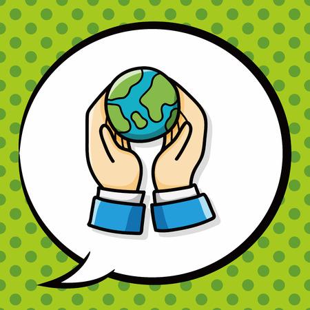 protección: doodle de proteger nuestra tierra, la burbuja del discurso