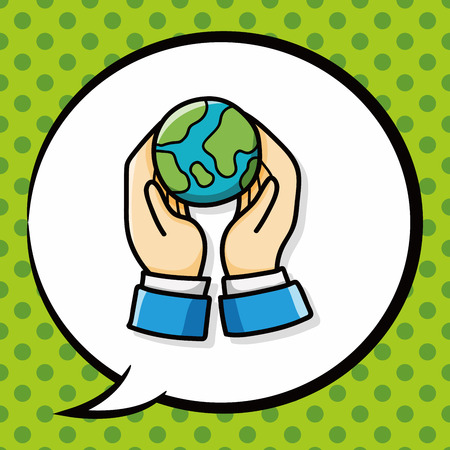 protection symbol: protect our earth doodle, speech bubble