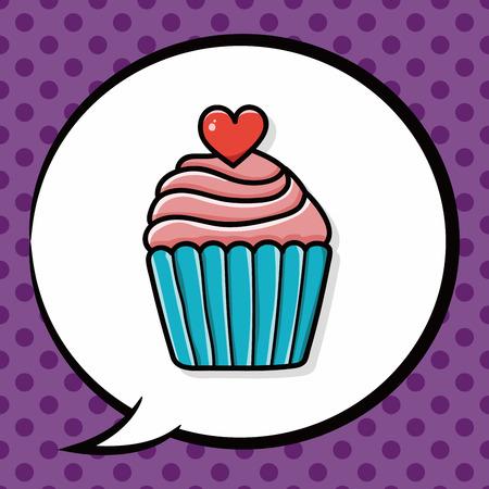 gateau anniversaire: gâteau doodle, bulle Illustration