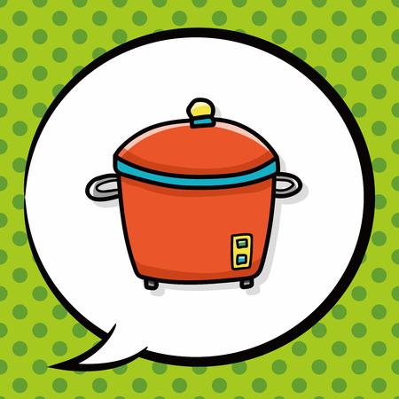 rice cooker: rice cooker doodle, speech bubble