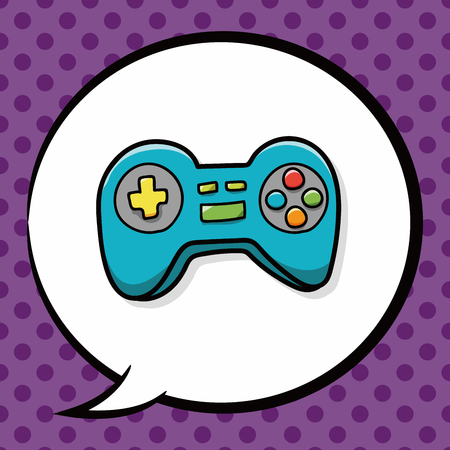 game controller doodle, speech bubble