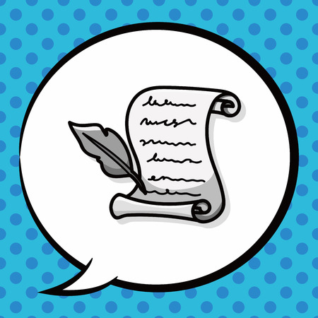 writing paper: writing paper doodle, speech bubble Illustration