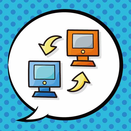 pc: computer doodle, speech bubble Illustration