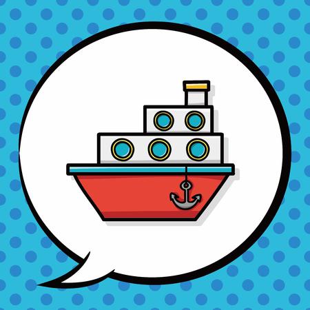 boat doodle, speech bubble