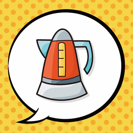hot water bottle: Hot water bottle doodle, speech bubble Illustration